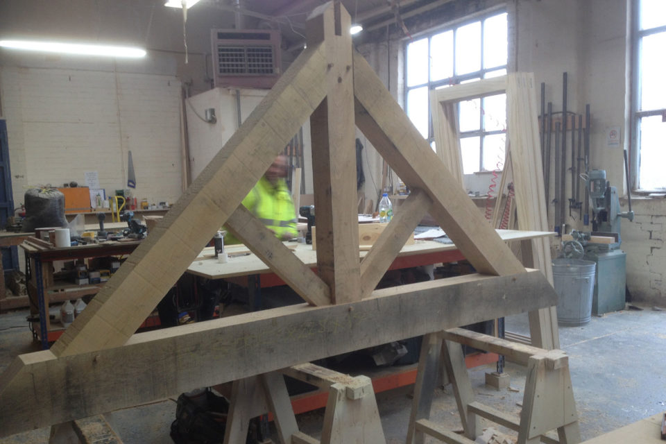 Timber frame project in our workshop