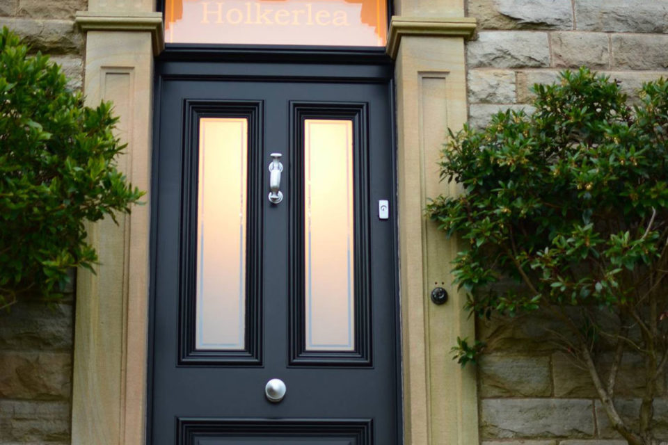 Period panel hardwood external door in black with etched glass