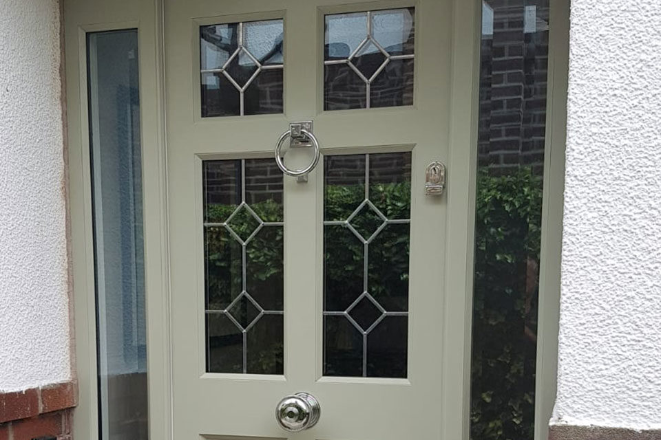 green Accoya leaded glass front door wth polished chrome From The Anvil door furniture