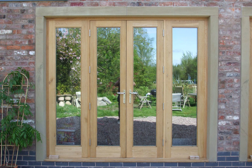 oak French doors in natural Teknos finish