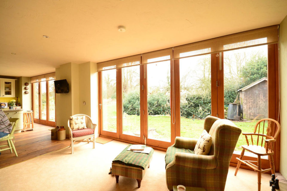 internal view of oak bi-folding doors