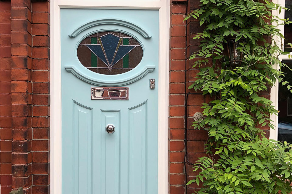 Art Deco 1930s style front door with turquoise paint pre finish