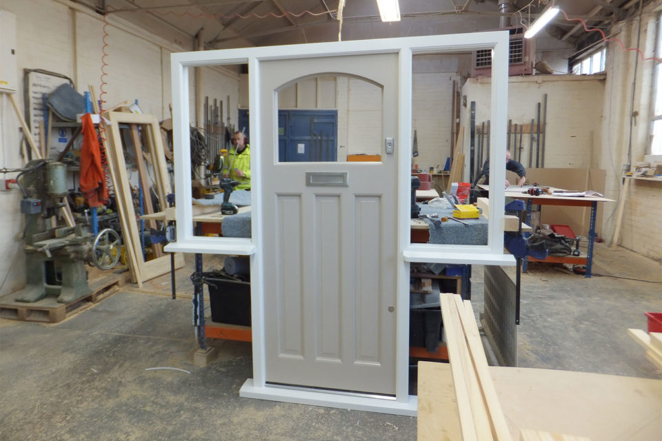 timber front door with paint pre finish during manufacture