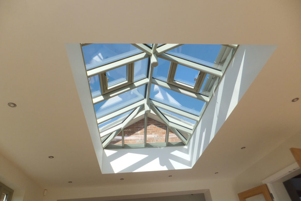 internal view of timber roof lantern with climate control glass