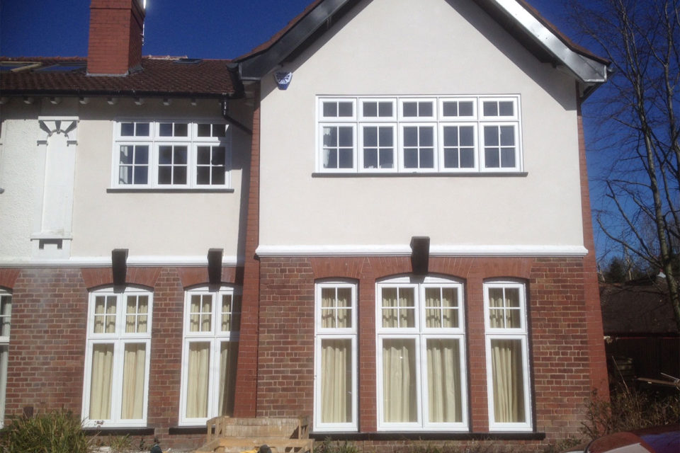 traditional Accoya casement windows with glazing bar detail
