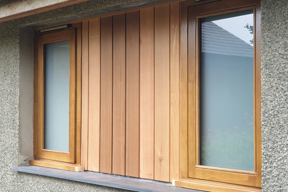 Natural accoya window and panel in North Wales