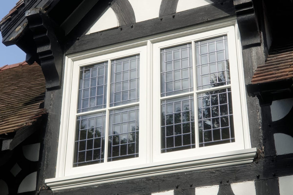 Exterior of Tudor style leaded window in Chester Cheshire