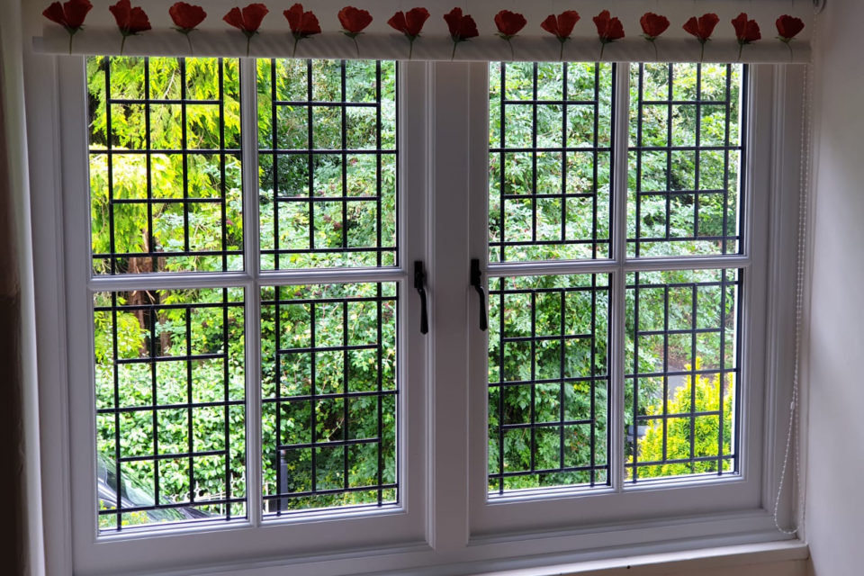Interior of Tudor style leaded casement window in Chester Cheshire