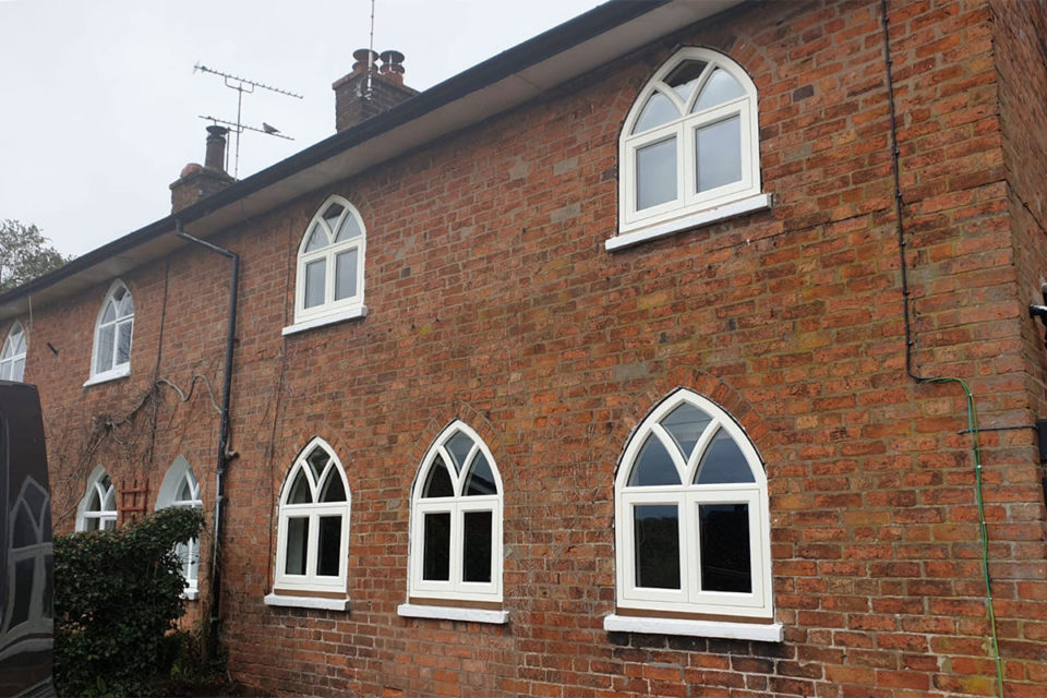gothic style pointed arch timber windows